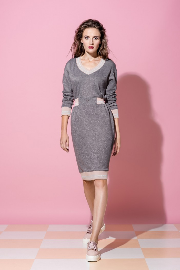 c75ce6987bc Платье Vikki из серебристого трикотажа с люрексом - Интернет-магазин ...