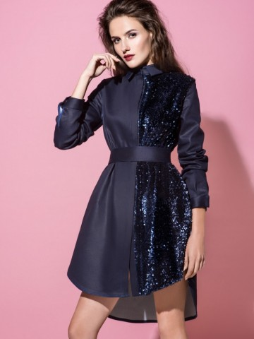 23f0c29c1b9 Джинсовое платье-рубашка Vikki со ставками из велюра в паетки. 2 970 UAH.  Купить